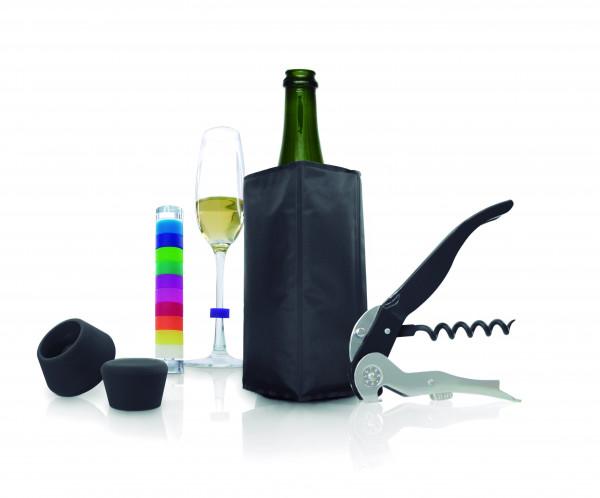 Pulltex Wein & Sektset, 5 Teile Kühler,2x Verschluss, Öffner, Glasmarker