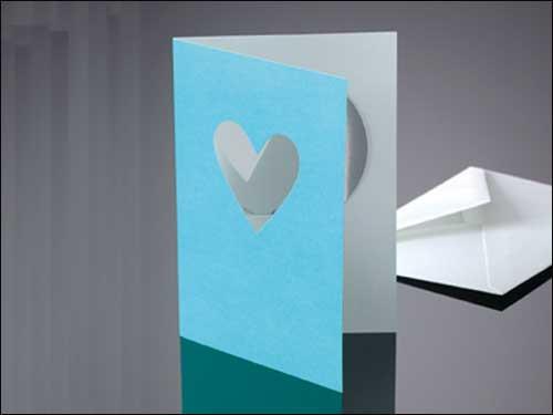 Drop-Card, Herz, hellblau, mit Kuvert