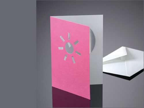 Drop-Card, Sonne, rosa, mit Kuvert