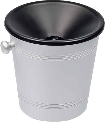 Spucknapf, Edelstahl Behälter / schwarzer Einlauf, 0,9 Liter